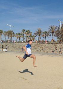 Anxo Blanco entrenando en la playa